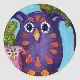 Cute Colorful Owls for the Owl Lovers Round Sticker
