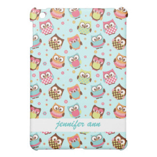 Cute Colorful Owls on Teal Pattern iPad Mini Cover
