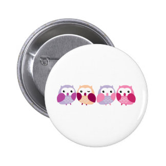 Cute Colorful Owls - Pink and Purple Pastels 6 Cm Round Badge