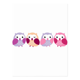 Cute Colorful Owls - Pink and Purple Pastels Postcard