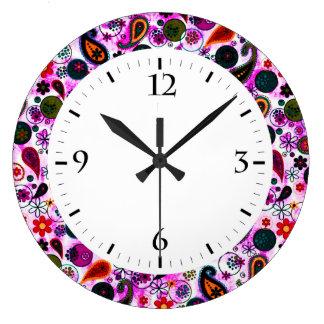 Cute colorful paisley patterns wallclocks