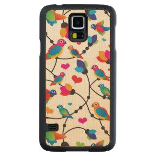 cute colorful parrot bird maple galaxy s5 slim case