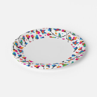 cute colorful parrot bird paper plate