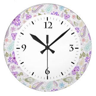 Cute colorful pastel paisley patterns large clock
