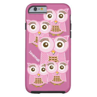Cute Colorful Pink Owls Change Purple to any Color Tough iPhone 6 Case