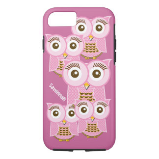 Cute Colorful Pink Owls Change Purple to any Color iPhone 7 Case