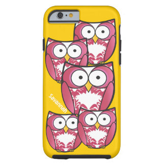 Cute Colorful Pink Owls Change Yellow to any Color Tough iPhone 6 Case