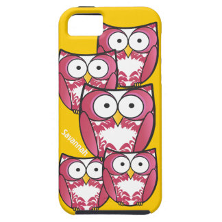 Cute Colorful Pink Owls Change Yellow to any Color iPhone 5 Cases