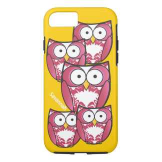Cute Colorful Pink Owls Change Yellow to any Color iPhone 7 Case