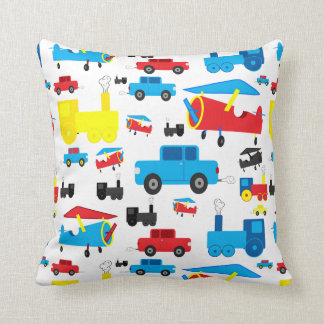 Cute Colorful Planes, Trains and Cars Collage Cushion
