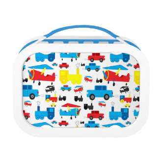 Cute Colorful Planes, Trains and Cars Collage Lunch Box