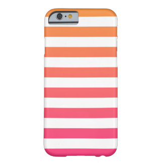 Cute Colorful Preppy Orange Pink White Stripes Barely There iPhone 6 Case