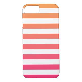 Cute Colorful Preppy Orange Pink White Stripes iPhone 8/7 Case