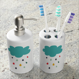 "Cute Colorful Rain Cloud ""Rain Rain"" Decorative Bathroom Set"