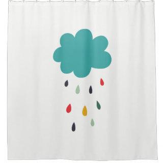 "Cute Colorful Rain Cloud ""Rain Rain"" Decorative Shower Curtain"