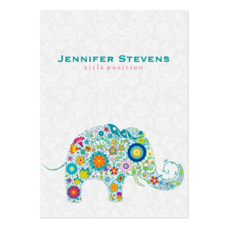 Cute Colorful Retro Floral Elephant Pack Of Chubby Business Cards
