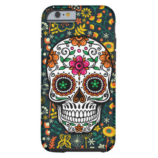 Cute Colorful Retro Floral Sugar Skull Tough iPhone 6 Case