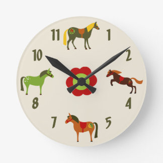 Cute Colorful Retro Ponies and Flower Horse Round Clock