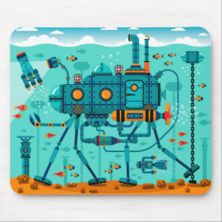Cute Colorful Robot Underwater Scene Mouse Mat