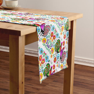 Cute Colorful Rooster Floral Pattern Short Table Runner