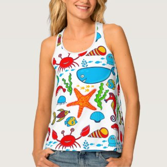 Cute Colorful Sea Animals Tank Top