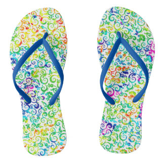 Cute colorful seamless flowers pattern flip flops