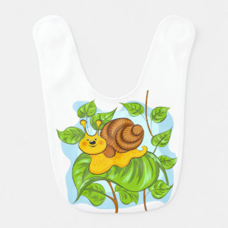 Cute colorful snail and leaves bib