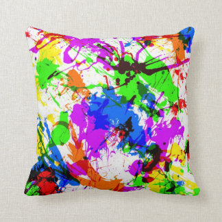 Cute colorful splatter paint design throw pillow