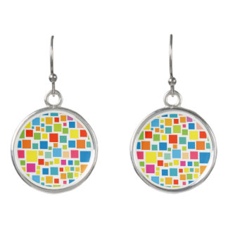 Cute colorful squares patterns earrings