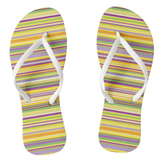 Cute colorful stripes design flip flops