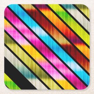 Cute colorful stripes square paper coaster