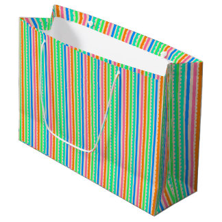 Cute colorful summer stripes large gift bag