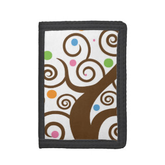 Cute Colorful Swirl Tree Trifold Wallets