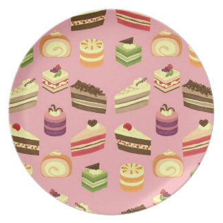 Cute Colorful Tea Cakes Illustration Pattern Plates