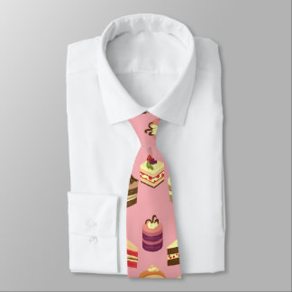 Cute Colorful Tea Cakes Illustration Pattern Tie