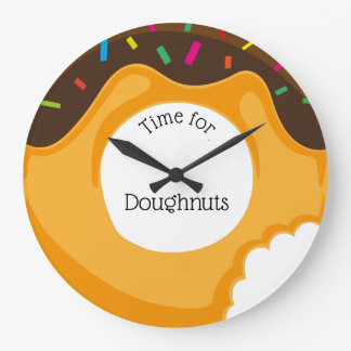 Cute Colorful Time for Doughnuts Large Clock
