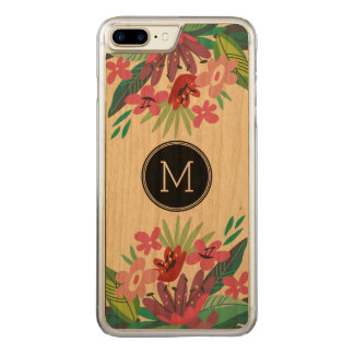 Cute Colorful Tropical Floral Design Carved iPhone 7 Plus Case
