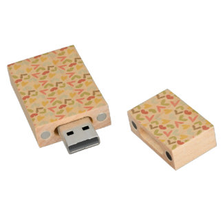 Cute colorful Valentines day hearts pattern Wood USB 2.0 Flash Drive