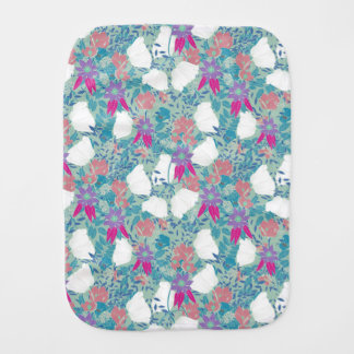 Cute colorful vintage floral pattern burp cloth