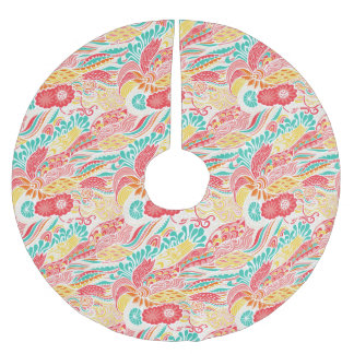 Cute colorful vintage flowers pattern brushed polyester tree skirt