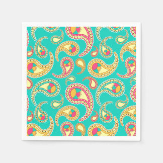 Cute colorful vintage paisley pattern disposable napkin