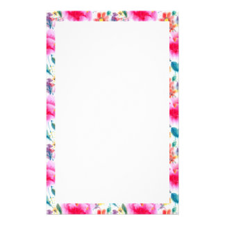 Cute colorful watercolor flowers customised stationery