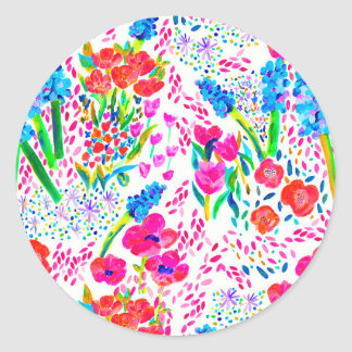 Cute colorful watercolor flowers pattern classic round sticker