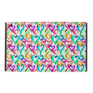 Cute colorful watercolor hearts pattern iPad covers