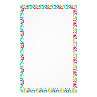 Cute colorful watercolor hearts pattern stationery design