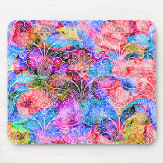Cute colorful white flowers patterns mouse pad