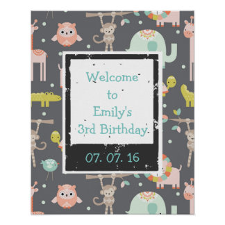 Cute Colorful Wild Animals  Birthday Welcome Poster