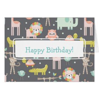Cute Colorful Wild Animals Nursery Art Birthday Card