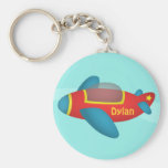 Cute Colourful Aeroplane Jet for Kids Basic Round Button Key Ring