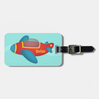 Cute Colourful Aeroplane Jet for Kids Luggage Tag